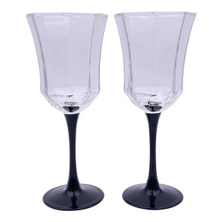 1980s Luminarc France Octagonal Wine Glasses - Set of 2 For Sale