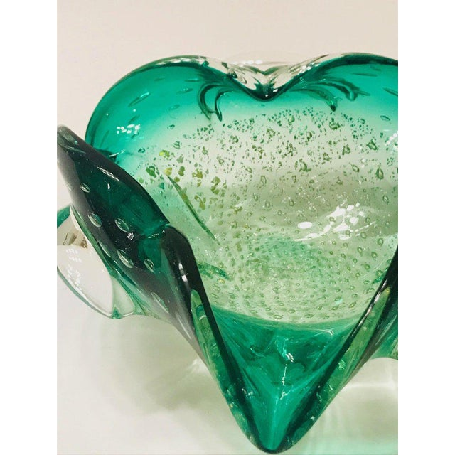 Italian Mid-Century Murano Glass Bowl in Emerald Green For Sale - Image 9 of 12