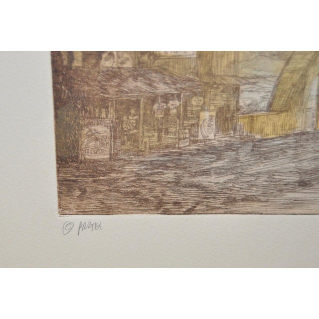 "Rainbow Bridge ""Andy's Place - Haleiwa, Hawaii"" Color Etching by Partee c.1970s For Sale - Image 4 of 6"