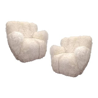 Viggo Boesen Pair of Hairy Club Chairs Covered in Sheep Skin Fur
