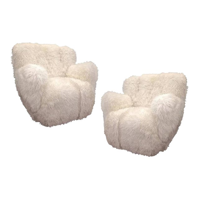 Viggo Boesen Pair of Hairy Club Chairs Covered in Sheep Skin Fur For Sale