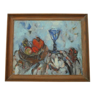 Mid Century Painting Abstract Expressionism Still Life School of Paris Modernist For Sale