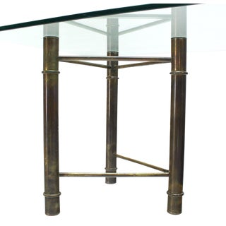 Mastercraft Solid Brass Faux Bamboo Base Glass Top Rectangle Dining Table For Sale