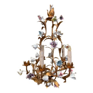 Early 20th Century French Gilt Painted Chandelier With Porcelain Flowers For Sale