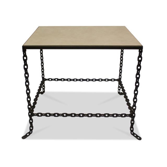 Mid-Century Modern Stone Topped Chain Link Side Table For Sale - Image 4 of 7