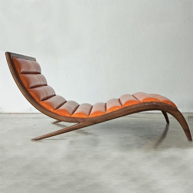 Cerused Walnut & Navy Leather Chaise - Image 4 of 4