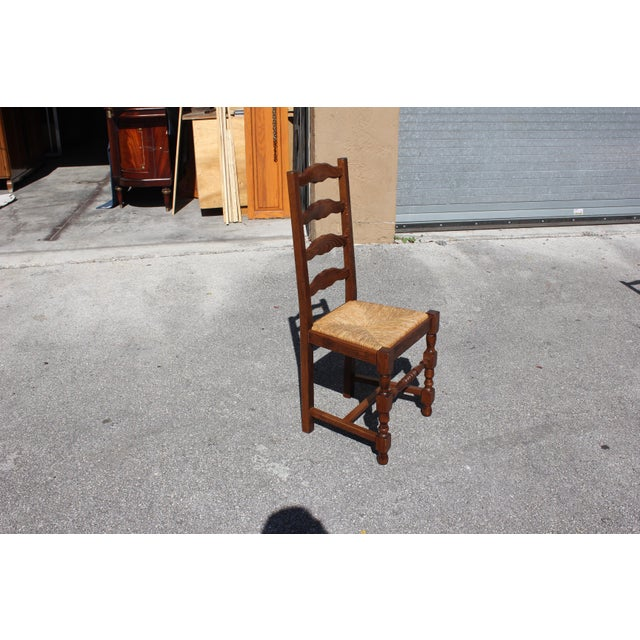 Brown Early 20th C. Vintage French Country Rush Seat Walnut Dining Chairs- Set of 6 For Sale - Image 8 of 13