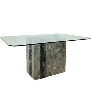 Mid-Century Modern Gray Tessellated Stone Glass Pedestal Table For Sale