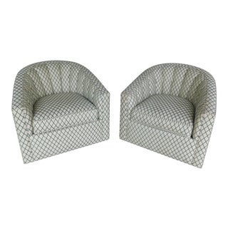 Ethan Allen Rolled Tufted Back Upholstered Swivel Club Chairs - a Pair For Sale