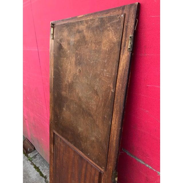 Metal Antique Architectural Fragment Mercury Mirror Panel Inset & Hardware Wood Door For Sale - Image 7 of 12