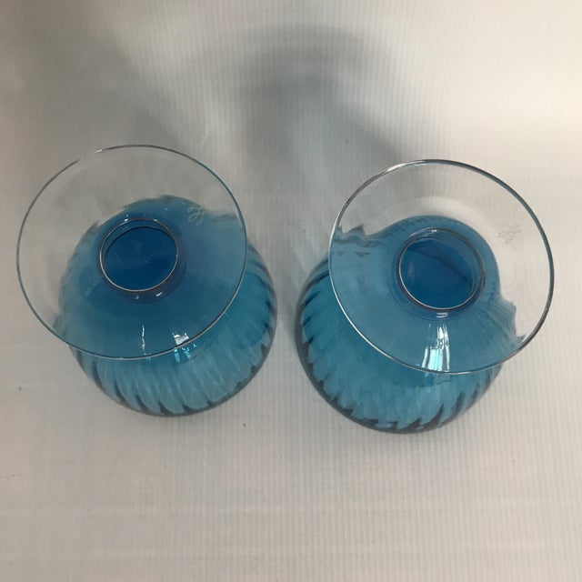 Art Deco Blue Glass Footed Dessert Cups - A Pair For Sale - Image 3 of 5