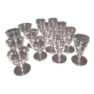 Etched Flower Glassware - 14 Pieces