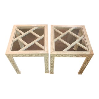 Chippendale White Wash Glass Top End Tables - a Pair For Sale