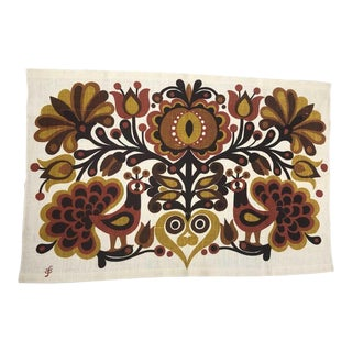 Södahl/Sodahl Denmark Peacock and Floral Wall Tapestry For Sale