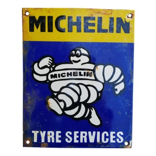 Vintage Enamel Michelin Man Sign For Sale