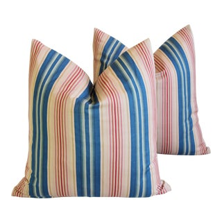 "French Blue, Pink & Red Striped Feather/Down Pillows 22"" Square - Pair For Sale"