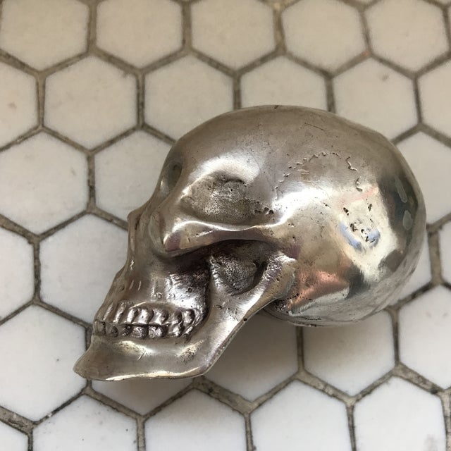 Metal Vintage Silver Metal Skull For Sale - Image 7 of 12