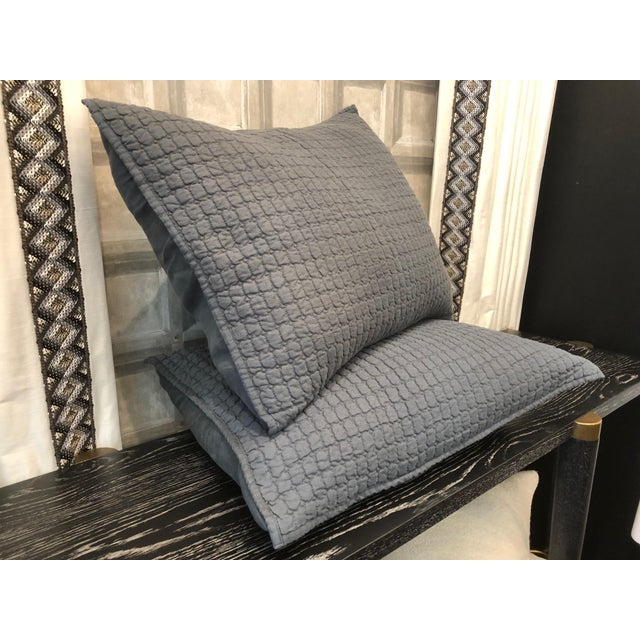 Linen Catalina Steel Blue Standard Shams - A Pair For Sale - Image 7 of 8