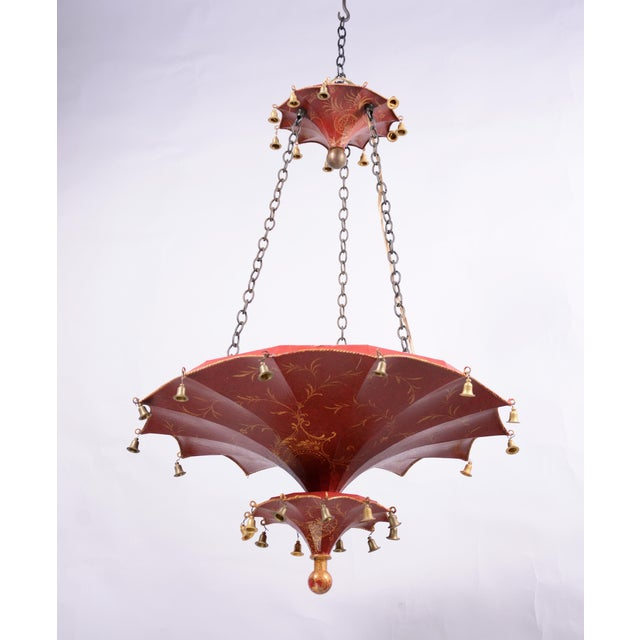 Vintage two tiers upside down umbrella ceiling chandelier with bells, red/gold in Arabasic design. three socket on top...