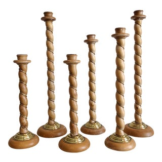 Vintage Barley Twist Wood With Entwined Brass Wrap and Accents by Dolbi Cashier Candle Holders - Set of 6 For Sale