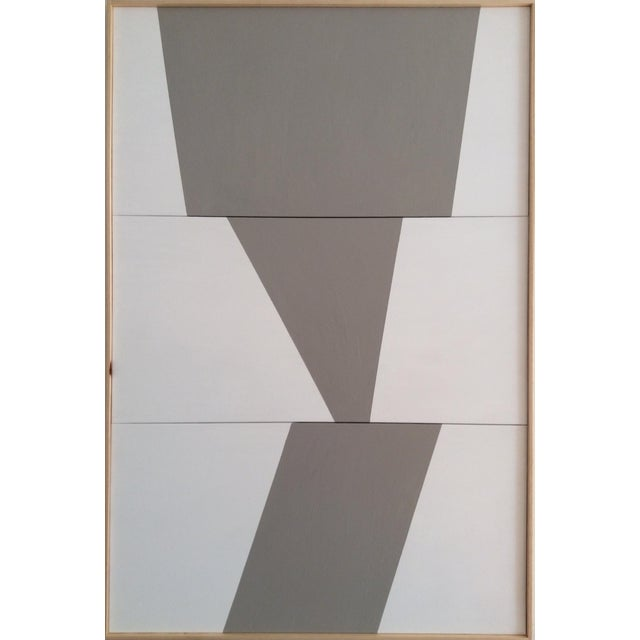 This original Jason Trotter Painting – Triple Gray Semblance – from the Triptych Formation Series features three affixed...