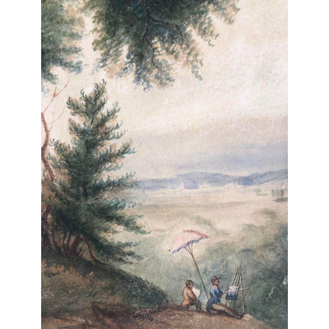 Realism 19th Century French Watercolor Landscape Painting of Artists Under a Tree by Pasquier 1834 For Sale - Image 3 of 8