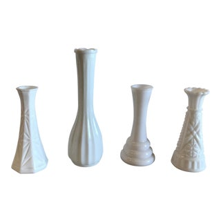 Vintage Milk Glass Bud Vases - Set of 4