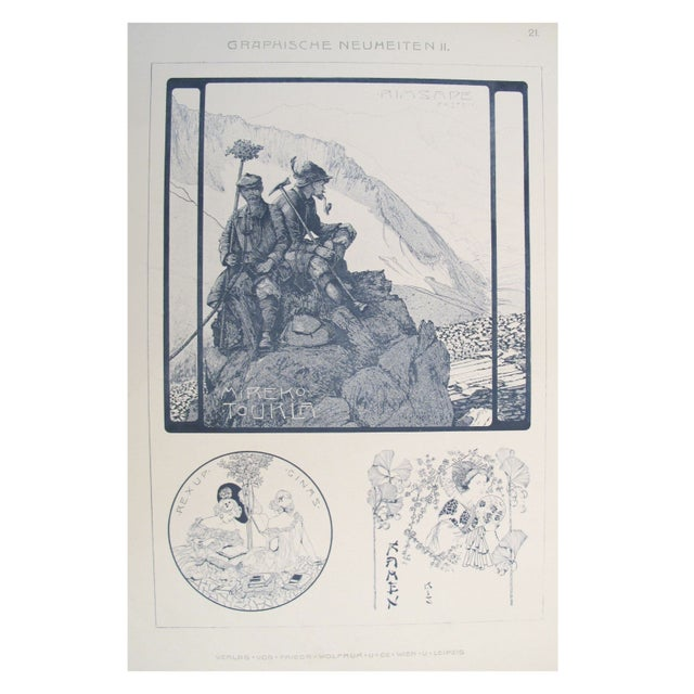 German Decorator Print C.1900 - Mountaineering For Sale