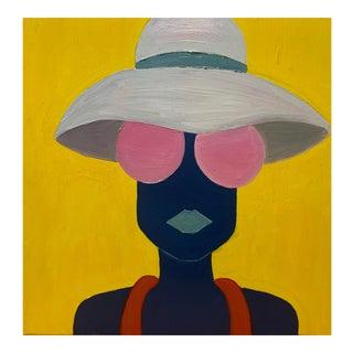 "Contemporary Original ""Pink Shades, White Hat"" Fashion Pop Art Portrait Painting For Sale"
