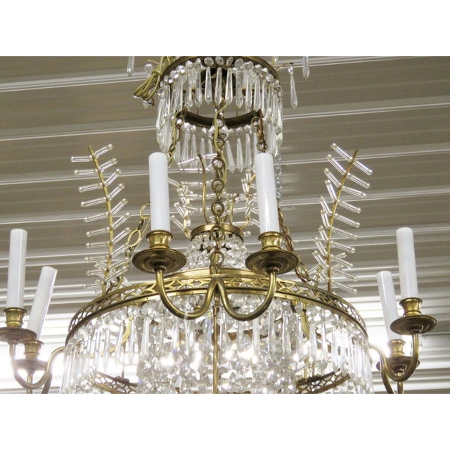 Russian Baltic Style Bronze & Crystal Chandelier - Image 3 of 3