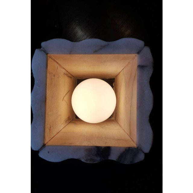 Art Deco Pink Marble Art Deco Lamp For Sale - Image 3 of 7