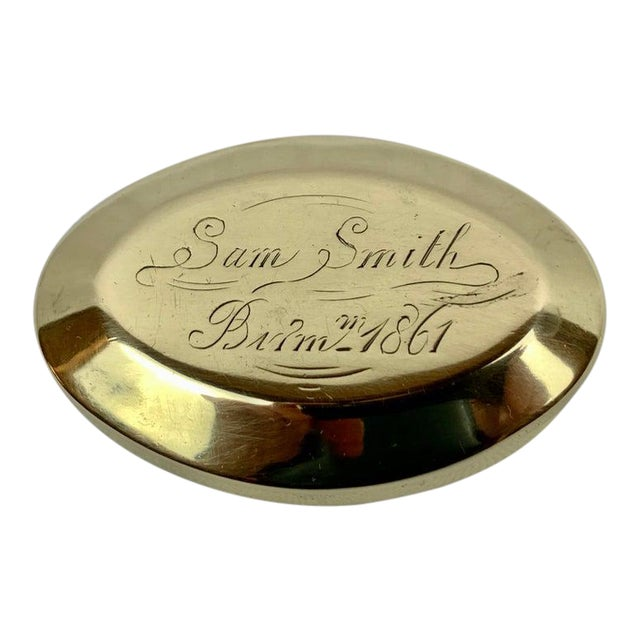 """Simple 19th Century Oval Brass Snuff Box """"Sam Smith"""", 1861 For Sale"""