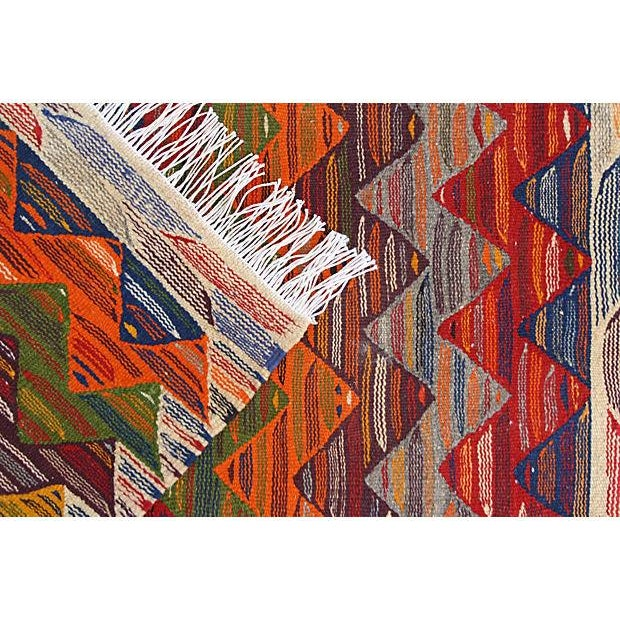 Handwoven Moroccan Berber kilim with a dazzling abstract design and impressive double-sided technique.