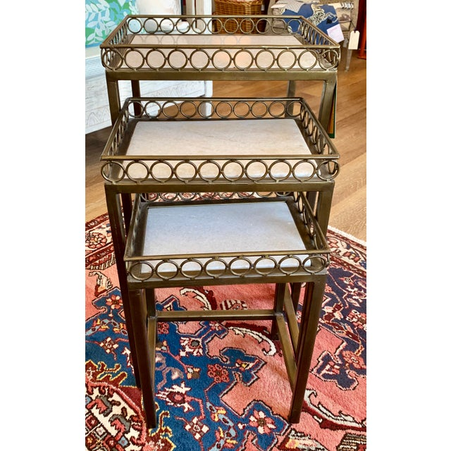 Hollywood Regency Iron-Frame Nesting Tables With Marble Top - Set of 3 For Sale In Kansas City - Image 6 of 6