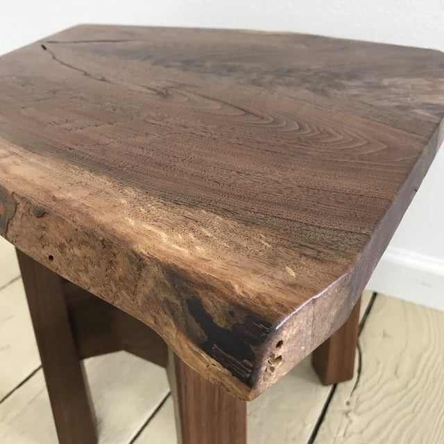 Brown Solid California Walnut Stool For Sale - Image 8 of 11
