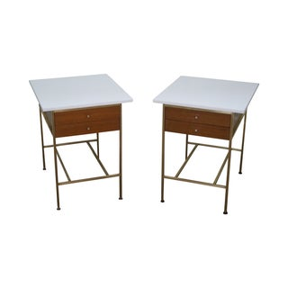Paul McCobb Brass Side Tables - A Pair For Sale