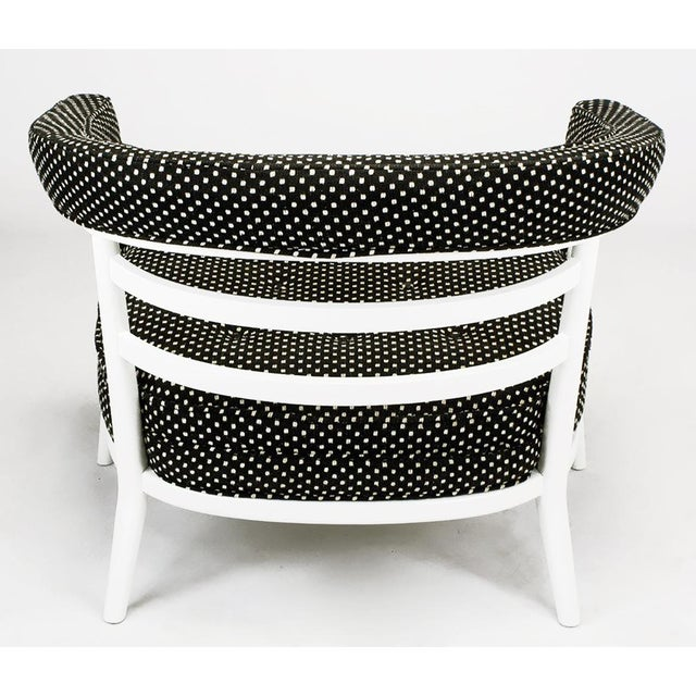 1950s Four Bert England White Lacquer & Black Polka Dot Lounge Chairs For Sale - Image 5 of 9