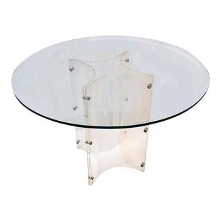 1970s Mid-Century Modern Lucite Cross Shape Gueridon Center Table For Sale