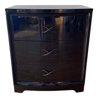 1940s Danish Modern Paul Frankl Black Lacquer Chest of Drawers For Sale