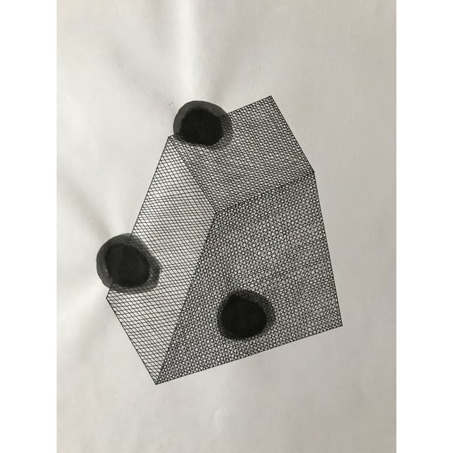 Hand drawn prism hatched and painted in black ink. Drawn on archive quality white paper. Unframed. Paper is slightly...