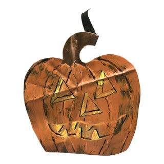Hand Painted Folk Art Jack-O-Lantern on 100 Year Old Copper For Sale