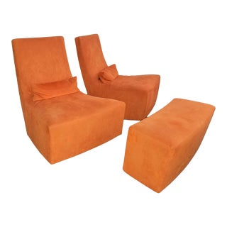 "Modern Ligne Roset ""Neo"" Furniture Orange Upholstered Rocking Chairs and Ottoman - 3 Pieces For Sale"