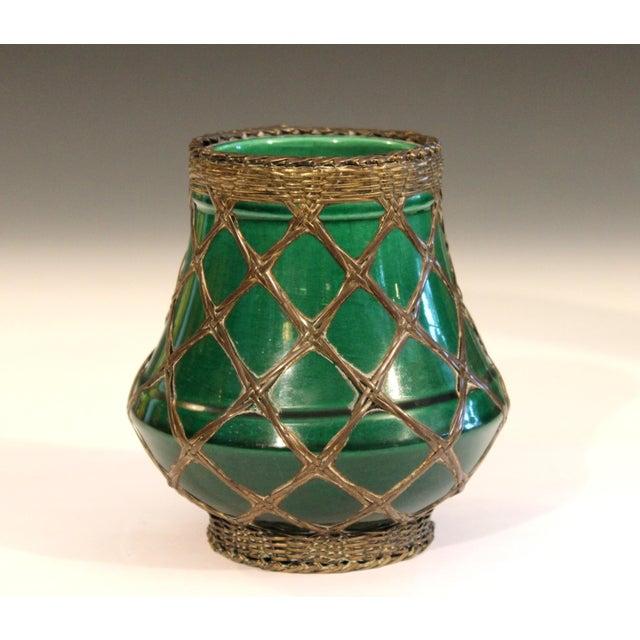 Arts & Crafts Antique Awaji Pottery Bronze Wrapped Artist's Brush Pot Vase Zen Ikebana For Sale - Image 3 of 10