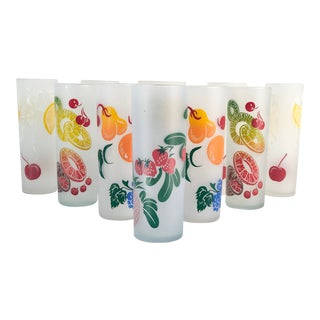 Midcentury Vintage Federal Frosted Colorful Fruit Glasses - Set of 10 For Sale