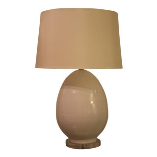 Modern Egg-Shaped White Glass Table Lamp For Sale