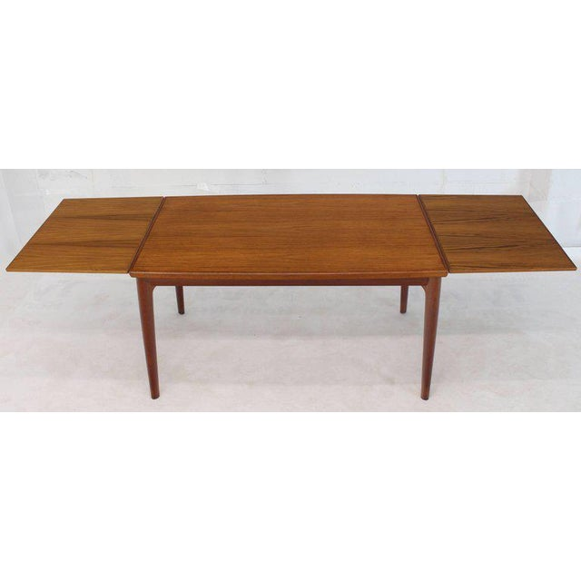 1970s Danish Modern Rectangular Boat Shape Refectory Dining Table For Sale - Image 5 of 8