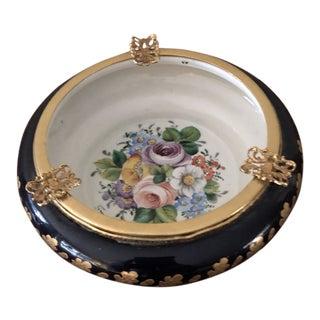Vintage French Signed Cobalt Blue & Gold Porcelain Ashtray For Sale