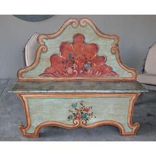 Mid 19th Century Venetian Baroque Style Pine Polychromed Highback Bench Preview