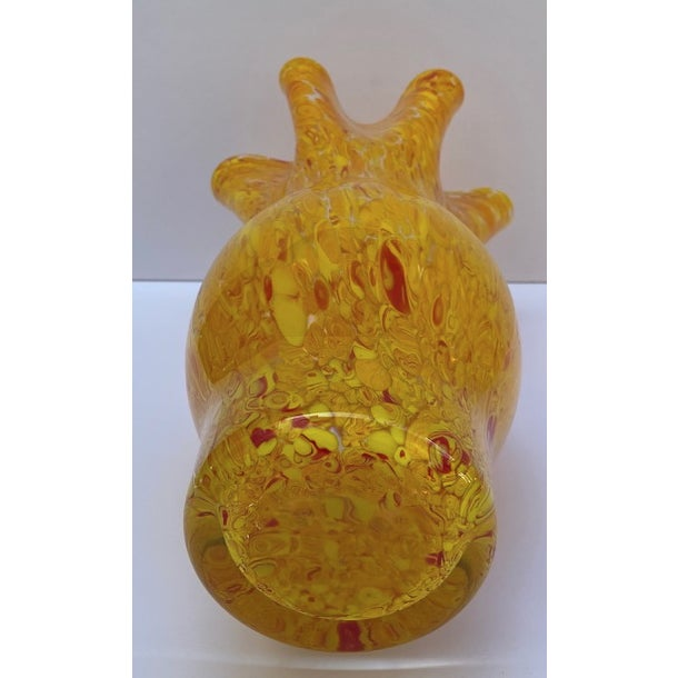 Late 20th Century Vintage Murano Mottled Spatter Yellow Orange Glass Vase For Sale - Image 5 of 7