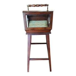 Mid 20th Century Vintage English Cherry Wood Curio Table For Sale